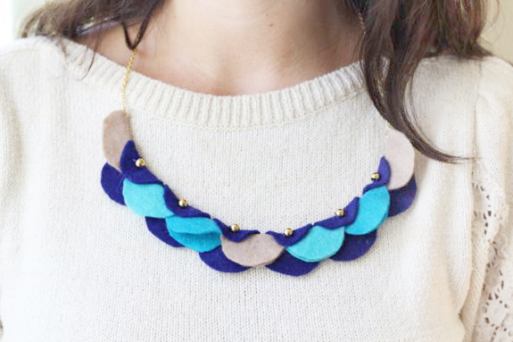 necklace made from felt