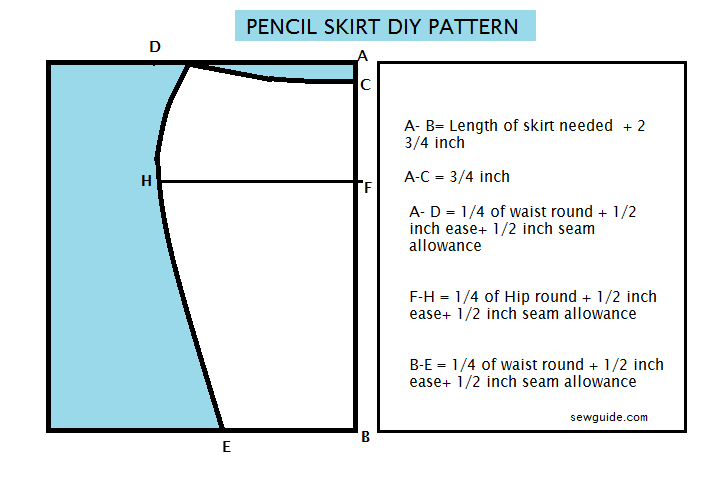pencil skirt pattern stitching