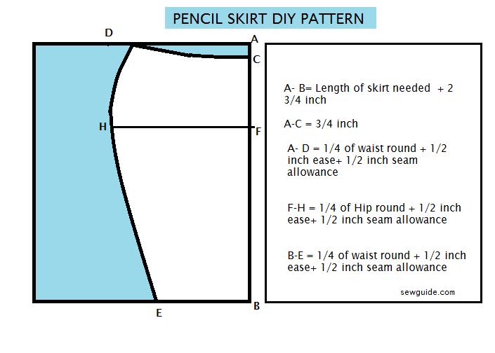 pencil skirt pattern stitching