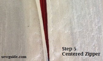 centered zipper