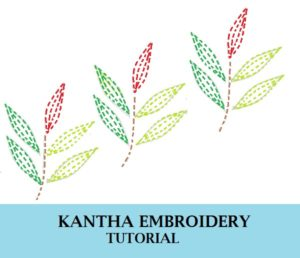 how to do kantha ebroidery design work