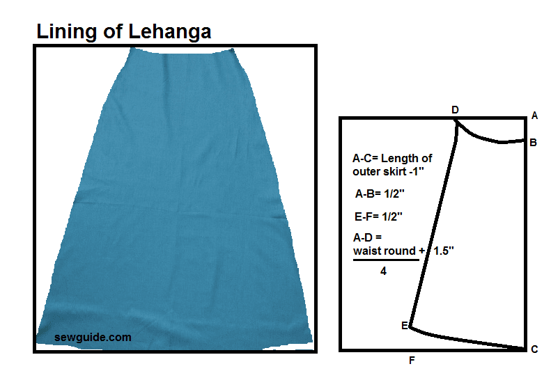 cutting and sewing lehenga skirt