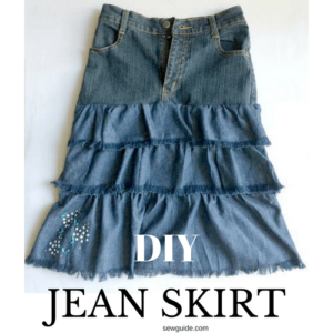 how to make a skirt from jeans and fabric