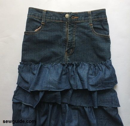 tiered skirt from old jeans