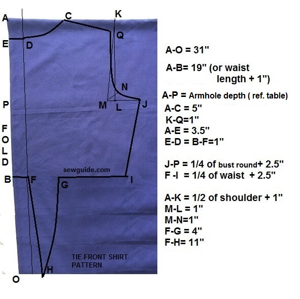 Make your own tie front shirt free sewing pattern for How to make a tie back shirt