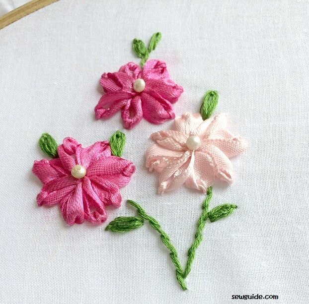 Ribbon embroidery flowers with silk satin ribbons