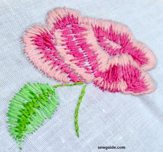 embroidered rose stitching tutorial