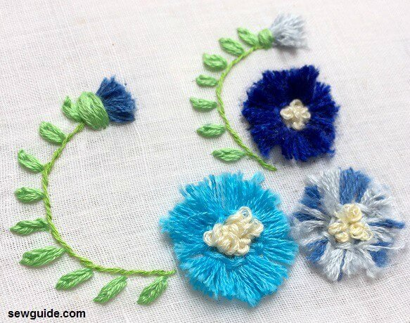 3 d embroidery technique for flowers