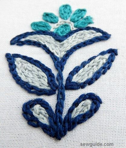chain stitch embroidery motif