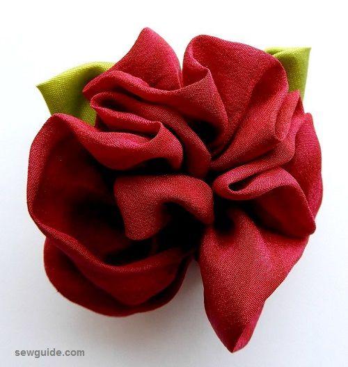 gathered fabic roses