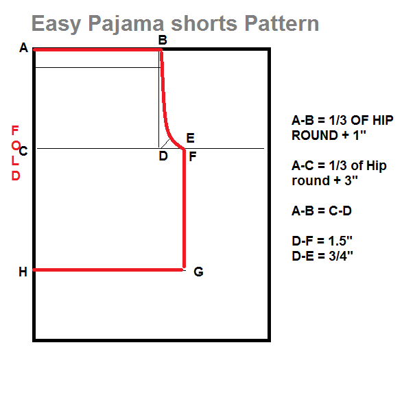 Pajama shorts pattern
