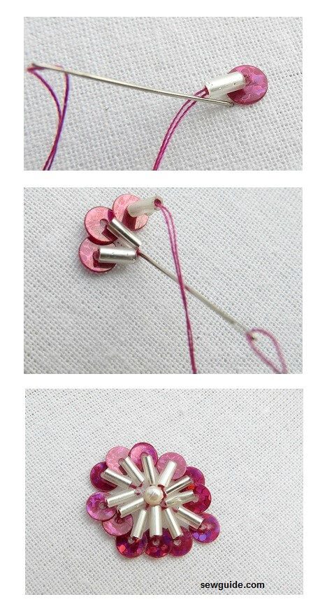 bead embroidery flower motifs