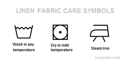 linen fabric care label