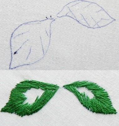 leaf embroidery stitches