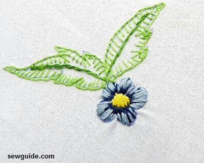 leaf stitch embroidery