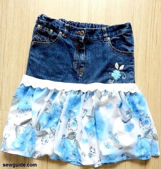 make jeans skirt from old jeans