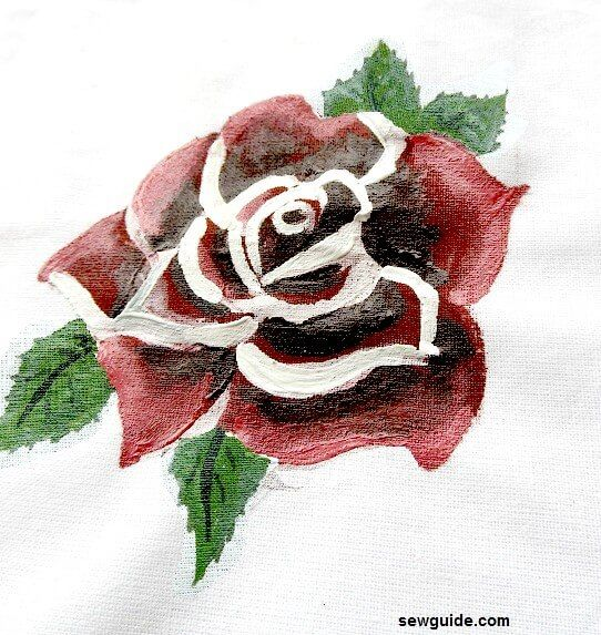 simple rose painting on fabric