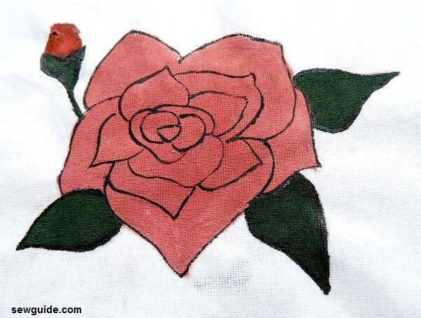 rose painting diy on fabric
