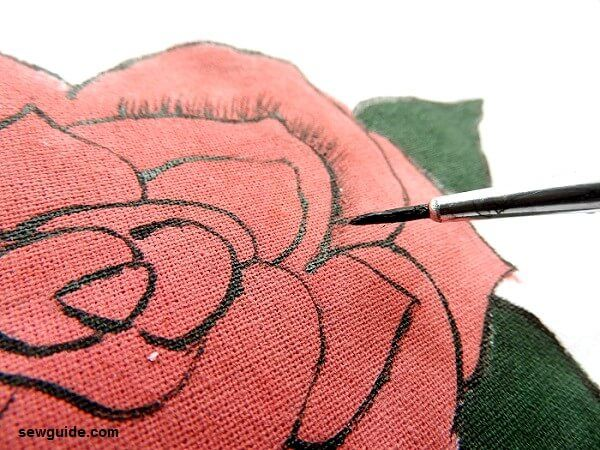 easy fabric painting rose tutorial