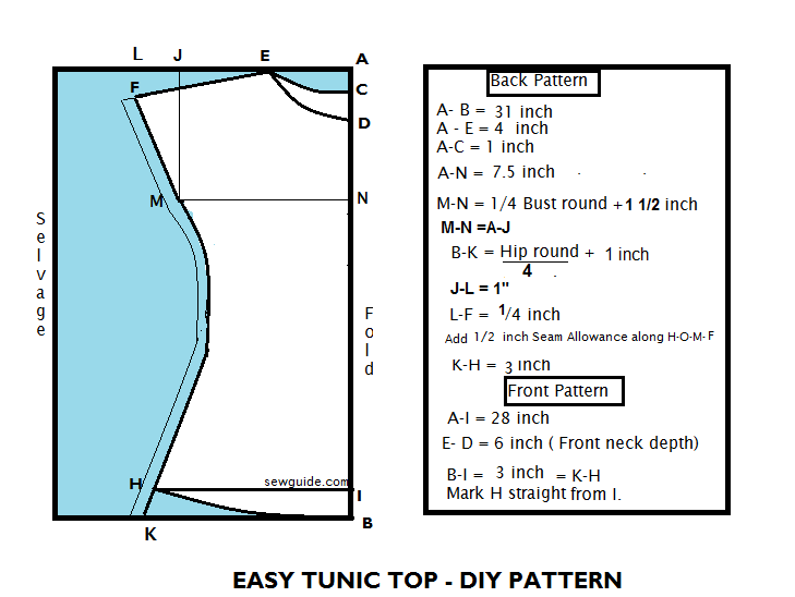 Sew a simple TUNIC top/ dress - with {FREE} DIY Pattern  - Sew Guide