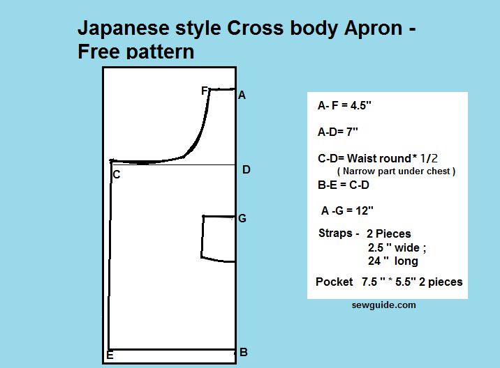 Make Easy Japanese style CROSS BACK APRON - Free diy pattern & tutorial