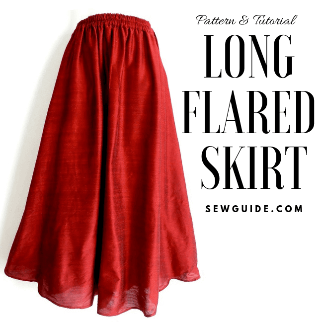 step by step instructions to sew a long skirt with flare