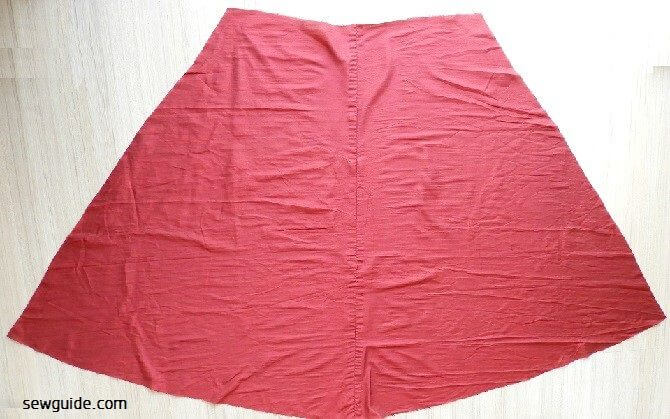 making Long flared skirt diy tutorial