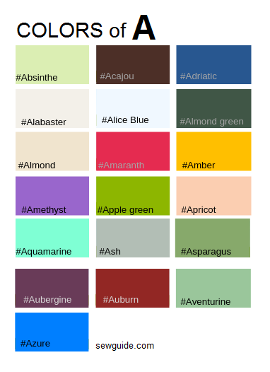 Color names in fashion design : An easy reference guide for 100+ colours