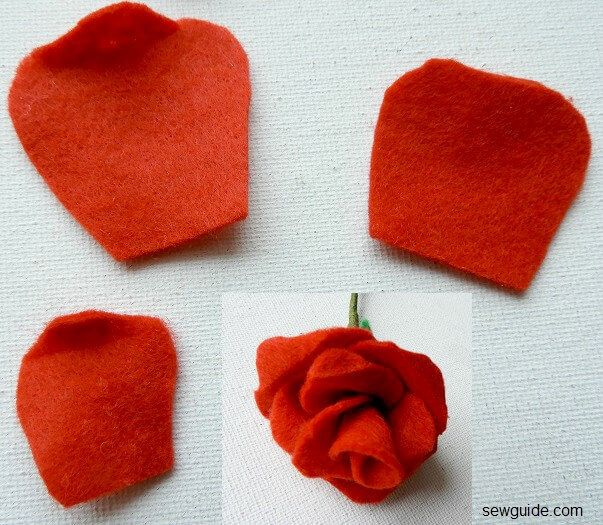 diy felt roses