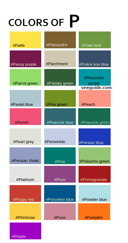 COLOUR NAMES STARTING WITH P
