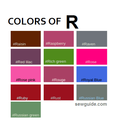COLORS AND names