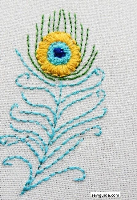 peacock feather embroidery