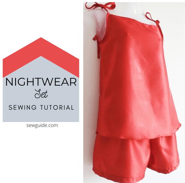 pajama shorts nightwear set sewing tutorial