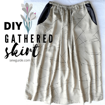 how to sew gathered skirt with pockets
