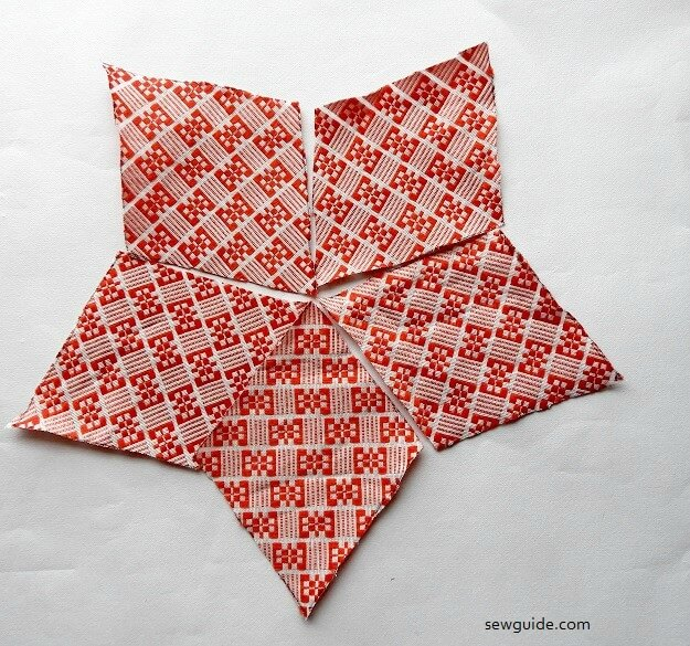sewing a star with fabric