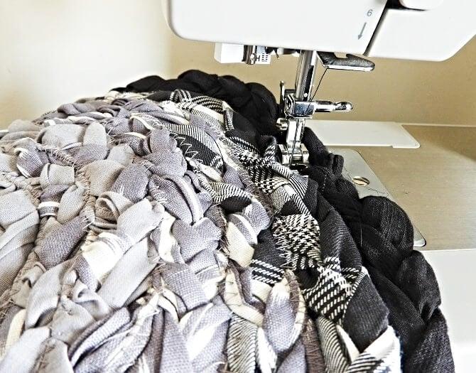 sew a braided rag rug