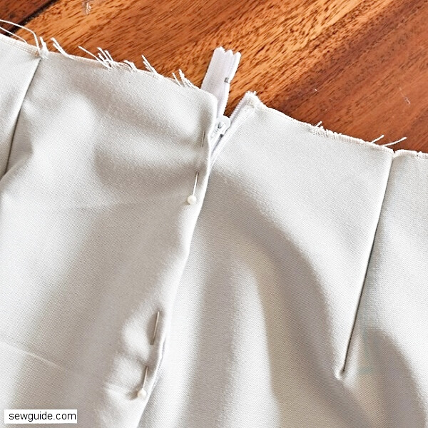 sewing tutorial for sewing waistband for skirts