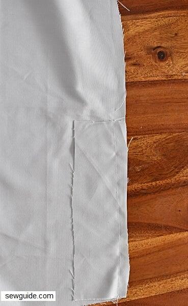 sew skirt slits