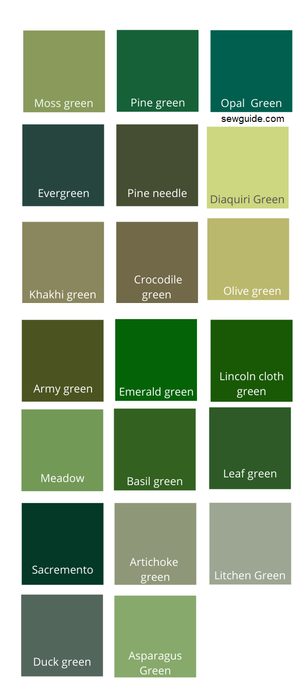 dark and neutral shades of Green color