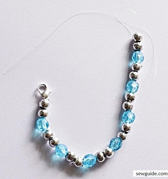 string beads to make a beaded bracelet